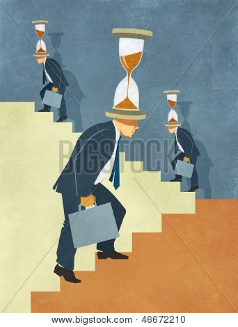 Businessmen Climbing Stairs to Success under Time Pressure