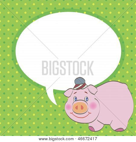 pig with speech bubble vector