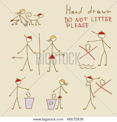 Set of hand drawn people Do Not Litter