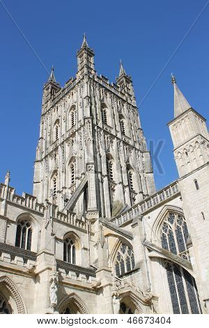 Medieval Perpendicular Gothic tower of Gloucester Cathedral