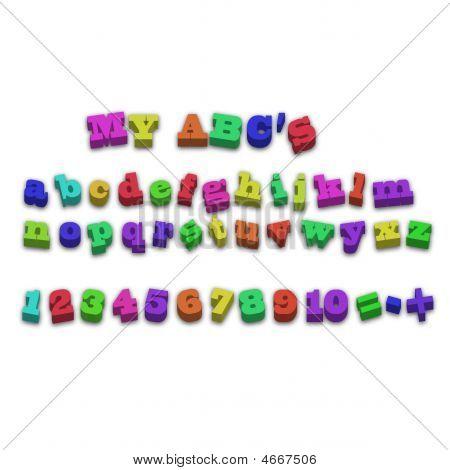 Vector geladeira imã alfabeto ortografia letras