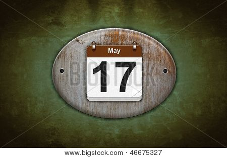 Old Wooden Calendar With May 17.