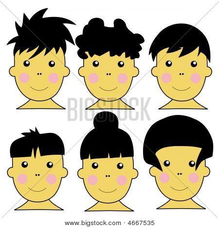 6 Cute Asian Kids Vector Illustration