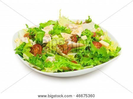 Fresh Chicken Salad Isolated On White Background