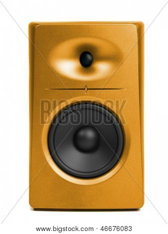 golden audio speaker (sound studio monitor), isolated on white
