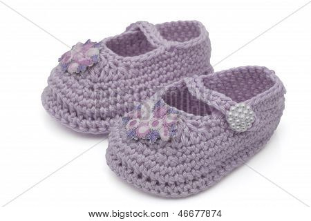 Lavender Hand-made Baby Booties