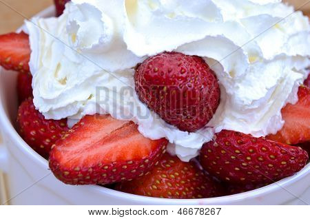 Strawberries With Whipped Cream.