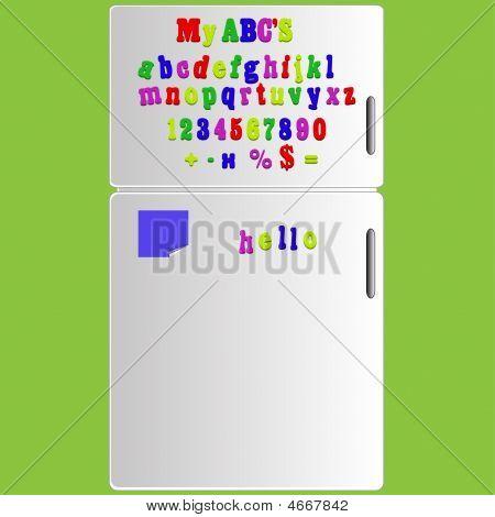 Vector geladeira com ímã alfabeto ortografia letras Abc e números ilustração