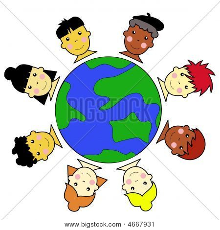Multicultural Kid Faces United Around Earth Globe Illustration Vector