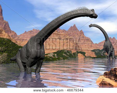 Brachiosaurus Dinosaurier im Wasser - 3D Render