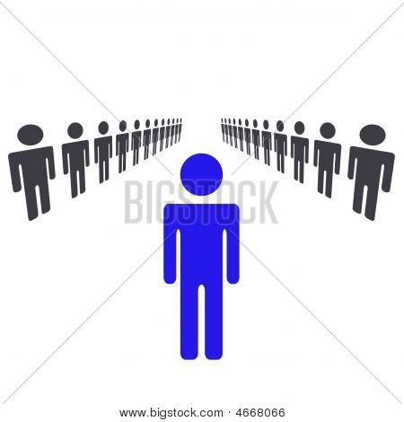 ein Mann oder Frau, der Führer und ständigen von Menge und Übernahme