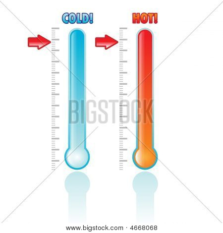 Set Of Two Thermometers Isolated On White