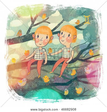 Zodiac sign - Gemini. Part of a large colorful cartoon calendar. Two boys - gemini brothers on branch with cute funny birds. Spring concept illustration