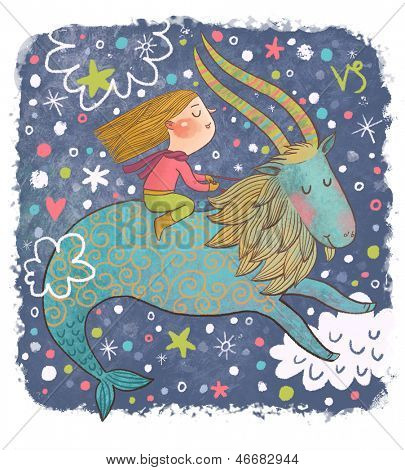 Zodiac sign - Capricorn. Part of a large colorful cartoon calendar. Cute girl in dreams. Cartoon illustration