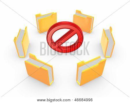 Yellow folders around symbol of warning.