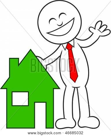 Cartoon Man Happy With House