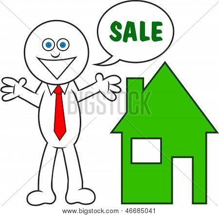 Cartoon Man Saying Sale