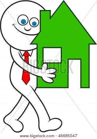 Cartoon Man Carrying House