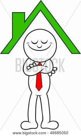 Cartoon Man Standing Under A Roof