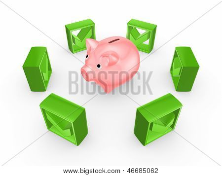 Green tick marks around pink piggy bank.