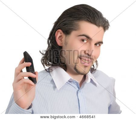 Young Smiling Handsome Male With Cell Phone  Isolated White