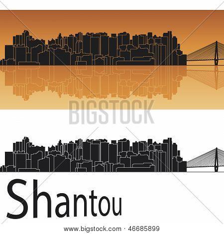 Shantou Skyline In Orange Background