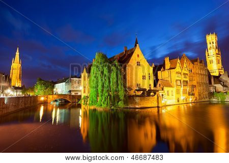 Night view of Bruges town World Heritage Site of UNESCO