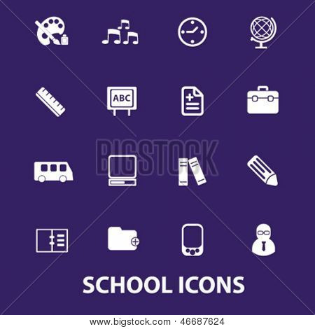 school, education, learning, training, concept, book, study icons, signs set, vector