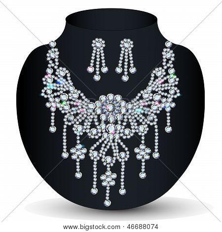 De un collar con su boda con piedras preciosas