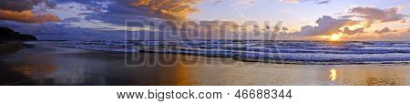 Panorama from a beautiful sunset at Praia Vale Figueiras in Portugal