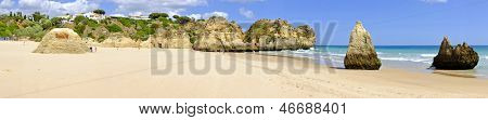 Panorama from Praia Tres Irmaos in Alvor in the Algarve Portugal