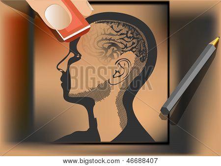 Brain Wash. Artist Wipes Human Brain With Eraser