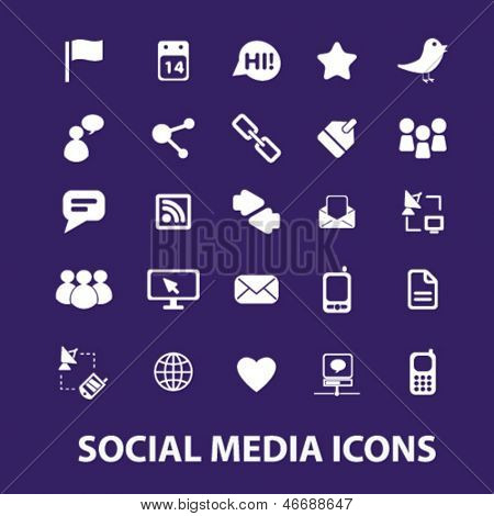 social media, blog, website, chat, networks, news, blogger template, icons, signs set, vector