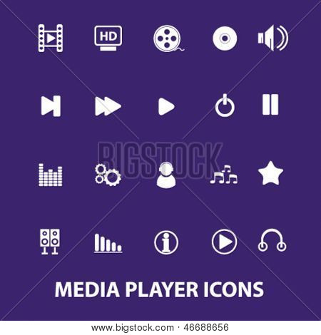 media, multimedia,  interface, music player, navigation icons, signs, illustration set, vector