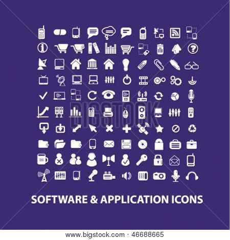 software, hardware, development, design, technology, application, interface icons, signs set, vector