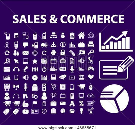 sales, commerce, marketing, management, presentation, business, advertising, shopping icons, signs set, vector