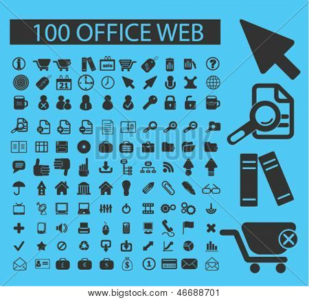 100 office, website design, internet icons, signs set, vector