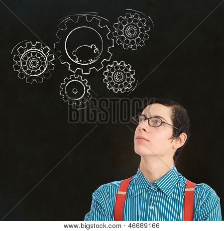 Nerd Geek Businessman Student Teacher Chalk Running Hamster Gears Cogs