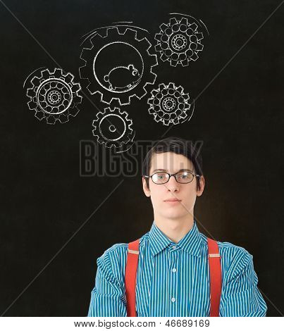 Nerd Geek Businessman Student Teacher Chalk Running Hamster Gears Cogs