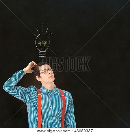 Nerd Geek Businessman Student Teacher Chalk Lightbulb