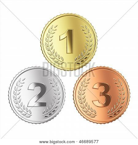 Golden medals set - isolated