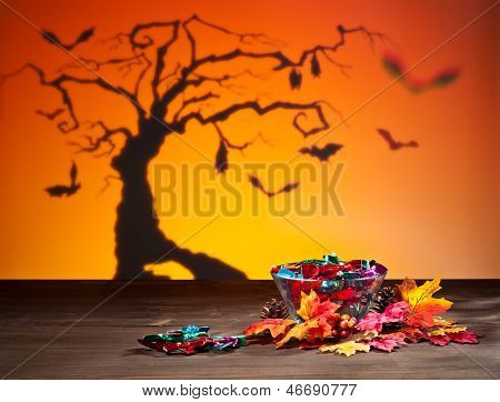 Halloween Tree Bats And Sweets