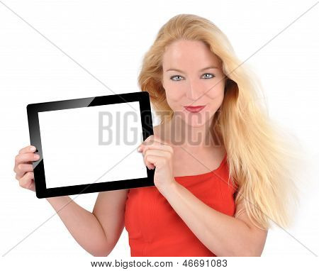 Happy Technology Woman Holding Tablet On White