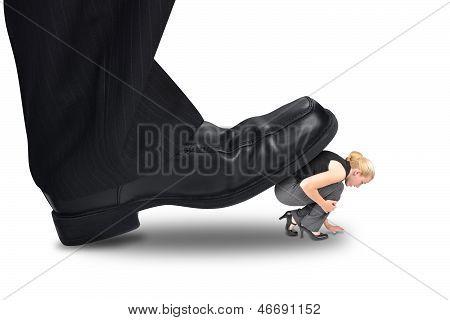 Big Power Boss Stepping On Little Employee