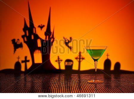 Green Martini In Halloween Setting