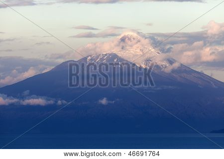 Osorno Volcano Seen During The Sunset From Puerto Varas
