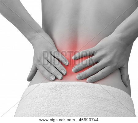 Pain In Woman Back. Female Holding Hands On Spot Pain Back Isolated