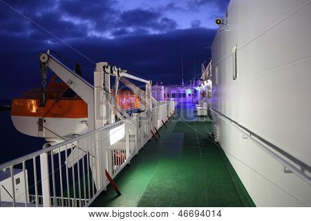 Lifeboat On A Big Ferry Ship