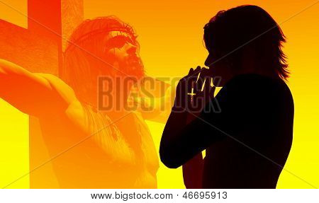 A girl prays on a background of Jesus Christ.