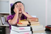 stock photo of academia  - Overwhelmed law student - JPG